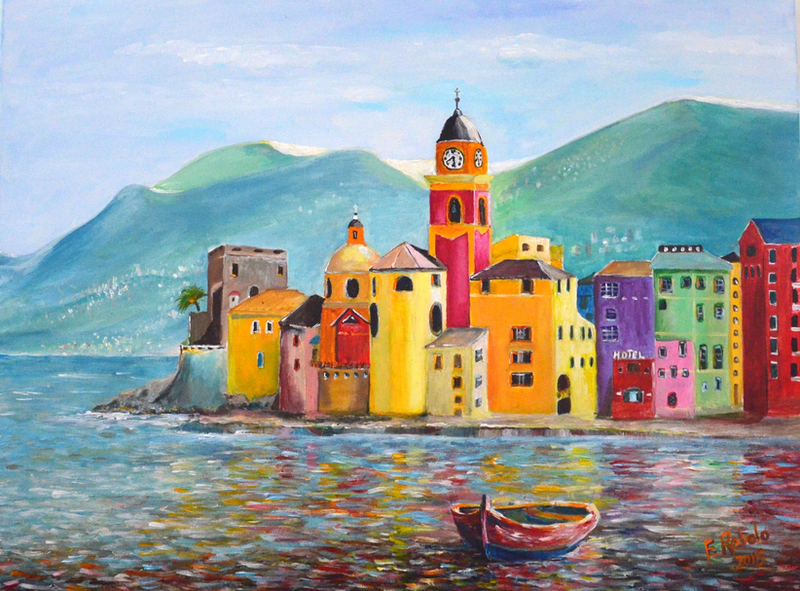 (CreativeWork) Colours of Camogli by Emilia Rebelo. Acrylic Paint. Shop online at Bluethumb.