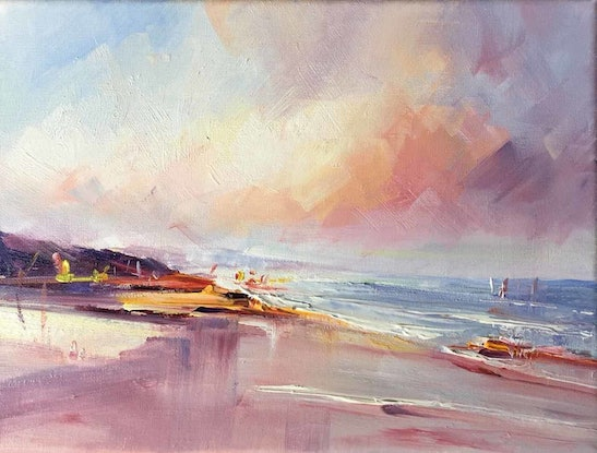 (CreativeWork) Summer At The Beach by Liliana Gigovic. Oil Paint. Shop online at Bluethumb.