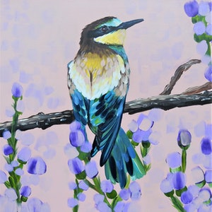 "(CreativeWork) Rainbow Bee Eater ""RELLA""  by HEYLIE MORRIS. arcylic-painting. Shop online at Bluethumb."