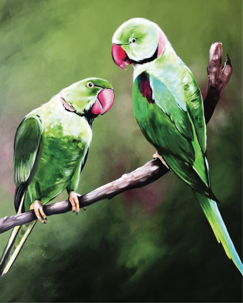 (CreativeWork) Alexandrine Parrots  by HEYLIE MORRIS. arcylic-painting. Shop online at Bluethumb.