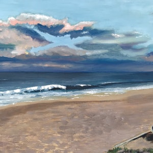 (CreativeWork) Collaroy Beach- Original oil painting by Kaz Brock. oil-painting. Shop online at Bluethumb.