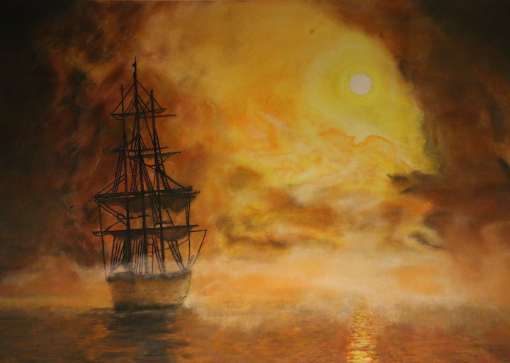 (CreativeWork) The Endeavour leaves Sydney Harbour by Ian Cameron. drawing. Shop online at Bluethumb.