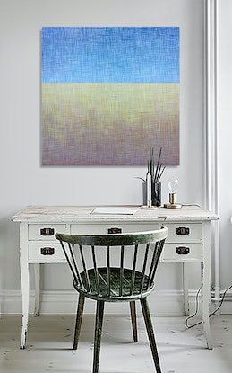 (CreativeWork) 'Thatched Horizon' Acrylic on canvas  ready to hang  by George Hall. Acrylic Paint. Shop online at Bluethumb.