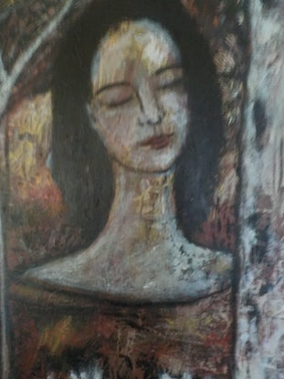 """(CreativeWork)  """"  Girl amongst the  Gum  Trees"""" by Catherine Walker. Acrylic Paint. Shop online at Bluethumb."""