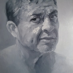 (CreativeWork) Grey Man by Jemma Cakebread. oil-painting. Shop online at Bluethumb.