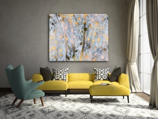 (CreativeWork) Aqueous Bloom IX - large bright painting by Jacquelyn Stephens. Mixed Media. Shop online at Bluethumb.