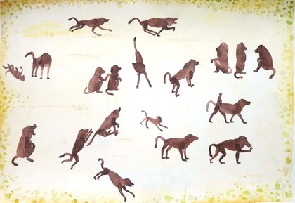 Baboons at play - Painted in Ghana on my travels circa 2000