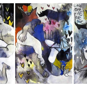 (CreativeWork) Abstracted nudes - Triptych - Three unframed works each 42 x 60cm  by John Graham. mixed-media. Shop online at Bluethumb.