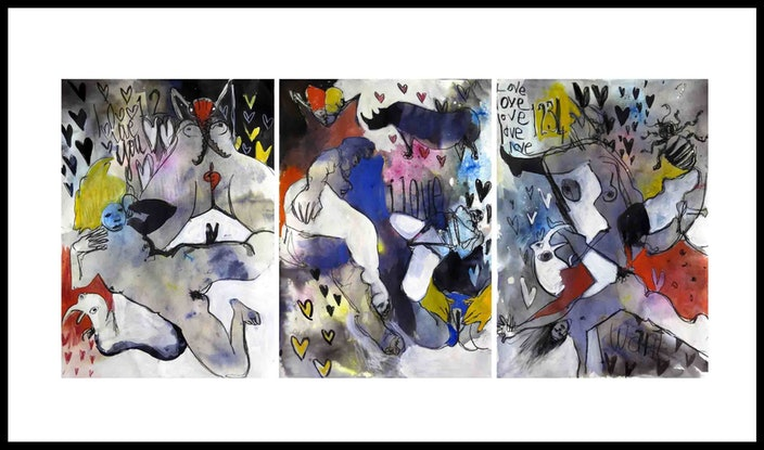 (CreativeWork) Abstracted nudes - Triptych - Three unframed works each 42 x 60cm  by John Graham. Mixed Media. Shop online at Bluethumb.