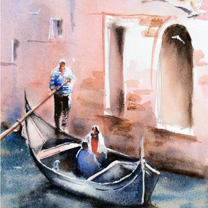 (CreativeWork) Romantic Gondola Ride, Venice by Chrysovalantou Mavroudis. watercolour. Shop online at Bluethumb.