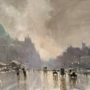 (CreativeWork) Old Melbourne by Mike Barr. oil-painting. Shop online at Bluethumb.