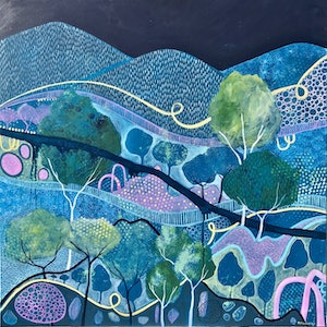 "(CreativeWork) ""Midnight Blue"" by Emma Nancarrow. arcylic-painting. Shop online at Bluethumb."