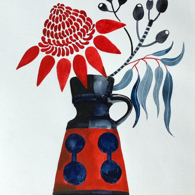 (CreativeWork) Waratah and Gum Nuts in Retro Vase by Sally Browne. watercolour. Shop online at Bluethumb.