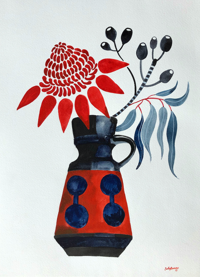 (CreativeWork) Waratah and Gum Nuts in Retro Vase by Sally Browne. Watercolour Paint. Shop online at Bluethumb.