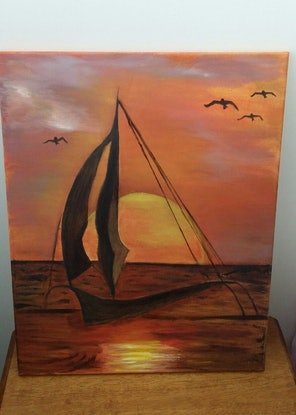 (CreativeWork) The sun set with boat by Ayomi Melanie. Oil Paint. Shop online at Bluethumb.
