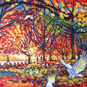 (CreativeWork) Canberra. Autumn. Morning Run. by Valentyna Crane. arcylic-painting. Shop online at Bluethumb.