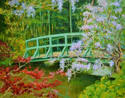 (CreativeWork) Bridge over Claude Monet's Water Lily Lake at Giverny by Dai Wynn. oil-painting. Shop online at Bluethumb.