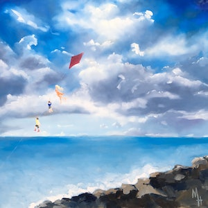 (CreativeWork) Flying a Kite Too by Meredith Howse. oil-painting. Shop online at Bluethumb.