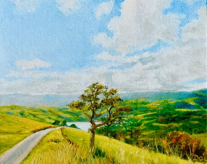 (CreativeWork) Clouds over Akaroa, New Zealand by Dai Wynn. oil-painting. Shop online at Bluethumb.