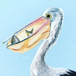 (CreativeWork) Pelican, Greedy by Olivia Robinson. arcylic-painting. Shop online at Bluethumb.