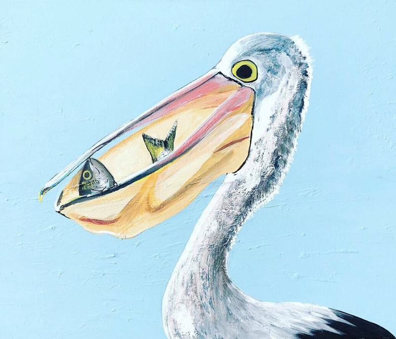 pelican greedy by olivia robinson paintings for sale bluethumb