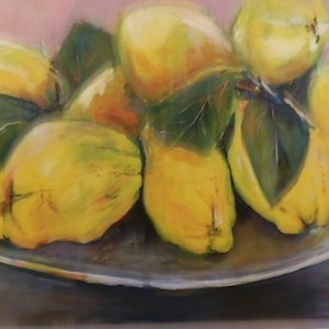 (CreativeWork) Fresh Quinces by Phillip Mylecharane. arcylic-painting. Shop online at Bluethumb.