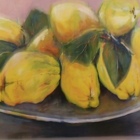 (CreativeWork) Fresh Quinces by Phillip Mylecharane. Acrylic Paint. Shop online at Bluethumb.