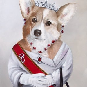 (CreativeWork) Elizabeth, Queen of the Corgi Ed. 1 of 150 by Mia Laing. print. Shop online at Bluethumb.