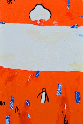 (CreativeWork) Unpopular Penguin Commission - You Choose the Title - 91x61cm June 18  by Ben Tankard. Acrylic Paint. Shop online at Bluethumb.