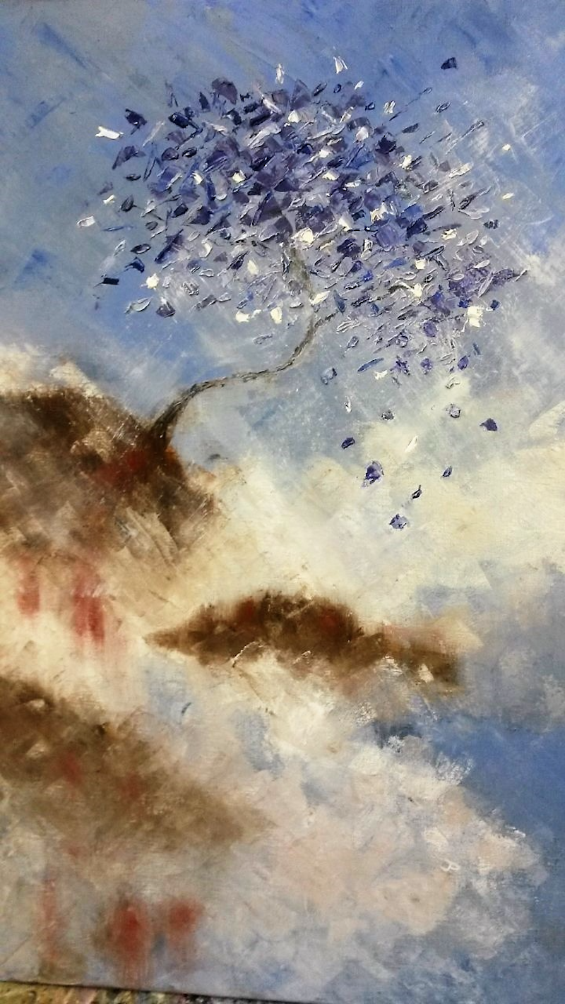 (CreativeWork) Sliding Tree by Jennifer Price. oil-painting. Shop online at Bluethumb.