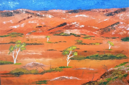 (CreativeWork) DESERT COUNTRY. PALETTE KNIFE WORK. by owen jones. oil-painting. Shop online at Bluethumb.
