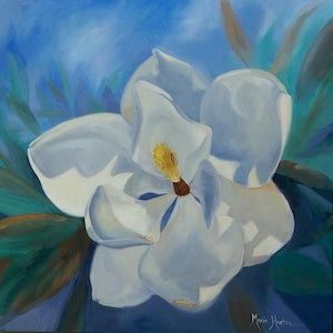 (CreativeWork) Magnolia blues  by Maria Heaton. oil-painting. Shop online at Bluethumb.