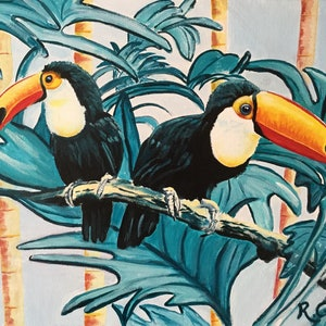 (CreativeWork) Tropical Toucans by Robyn Gray. arcylic-painting. Shop online at Bluethumb.