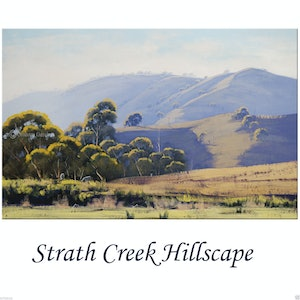 (CreativeWork) Strath Creek Hillscape , Victoria by Graham Gercken. oil-painting. Shop online at Bluethumb.