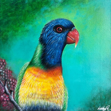 (CreativeWork) Rainbow lorikeet  by Hailey Robertson. Acrylic Paint. Shop online at Bluethumb.
