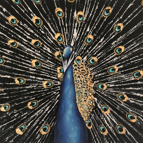 (CreativeWork) Feathers of Gold  by Hailey Robertson. Acrylic Paint. Shop online at Bluethumb.