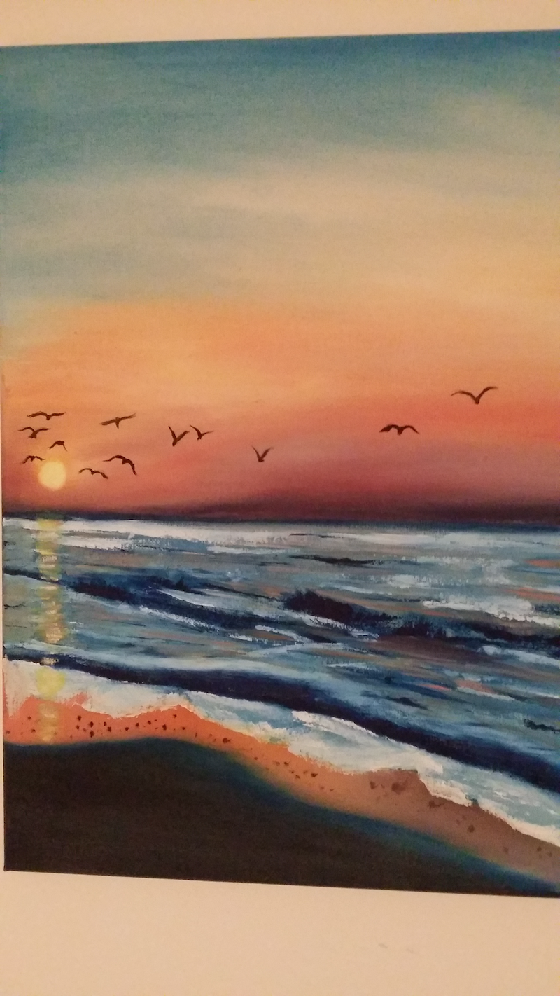 (CreativeWork) The blue sun set by Ayomi Melanie. oil-painting. Shop online at Bluethumb.