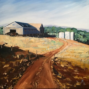 (CreativeWork) Shearing Shed by Meredith Howse. oil-painting. Shop online at Bluethumb.