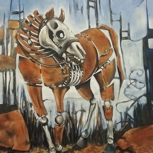 (CreativeWork) War Horse 1 by sue bannister. oil-painting. Shop online at Bluethumb.