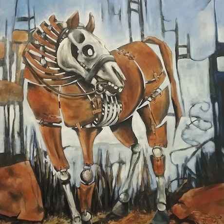 (CreativeWork) War Horse 1 by sue bannister. Oil Paint. Shop online at Bluethumb.