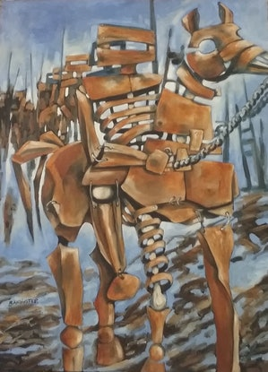 (CreativeWork) War horse 2 by sue bannister. Oil Paint. Shop online at Bluethumb.