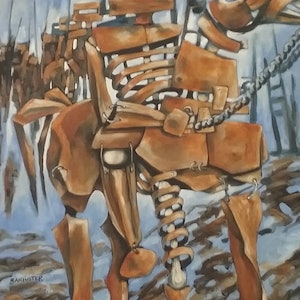 (CreativeWork) War horse 2 by sue bannister. oil-painting. Shop online at Bluethumb.