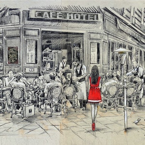 (CreativeWork) CAFE HOTEL by loui jover. mixed-media. Shop online at Bluethumb.