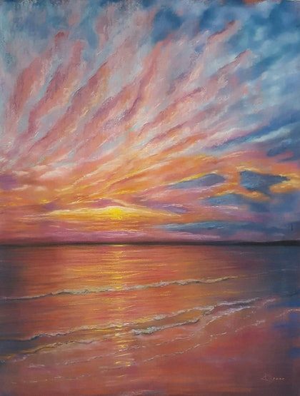 (CreativeWork) Perfect Sunrise by Karin Brear. drawing. Shop online at Bluethumb.