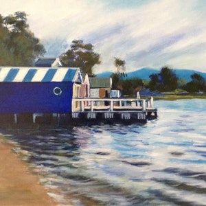 (CreativeWork) Boatsheds on the Bay by Anne Strambi. oil-painting. Shop online at Bluethumb.