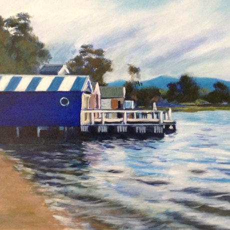 (CreativeWork) Boatsheds on the Bay by Anne Strambi. Oil Paint. Shop online at Bluethumb.