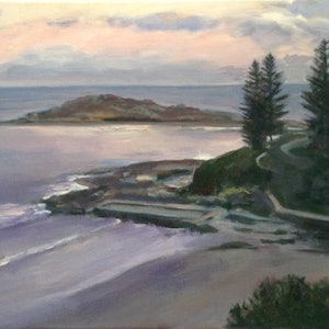 (CreativeWork) Yamba Dusk by Anne Strambi. oil-painting. Shop online at Bluethumb.