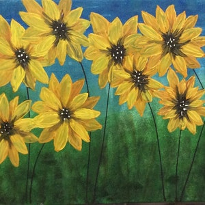 (CreativeWork) Sunflowers by Jen Jones. arcylic-painting. Shop online at Bluethumb.