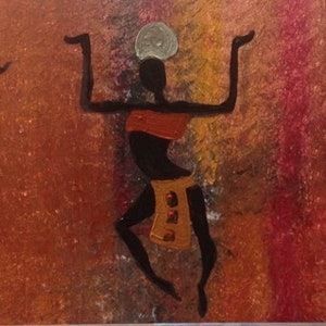 (CreativeWork) African dancers by Jen Jones. arcylic-painting. Shop online at Bluethumb.