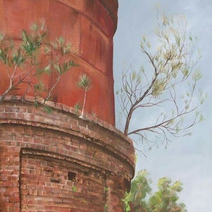 (CreativeWork) Byron Railway Watertower  by Maria Heaton. acrylic-painting. Shop online at Bluethumb.